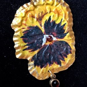 Jewelry - Artisan pansy pendant created from vintage tin